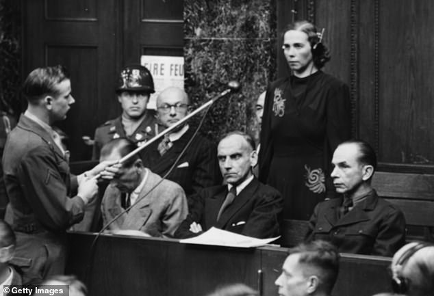 Inge Viermetz, the only woman defendant being tried before Tribune 1 in RuSHA Nuremberg Trials, pleads 'not guilty' to being responsible for Lebensborn in Nazi Germany, 1947