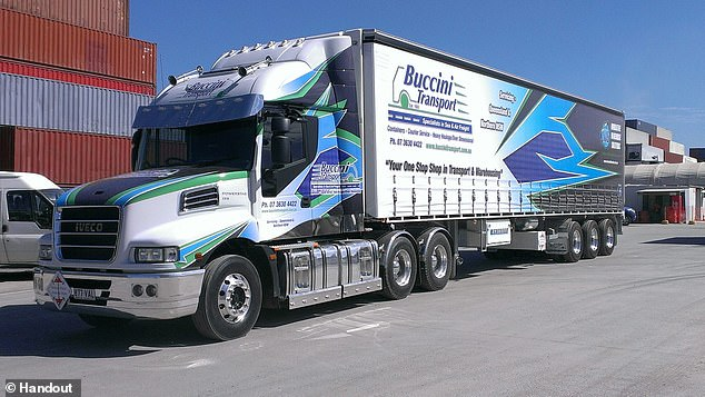 Paul Buccini, director of Buccini Transport, said outside of court he was so hurt when he discovered the fraud that had put financial stress upon his family and business (pictured, one of the company's fleet)