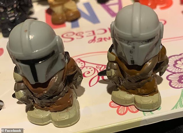 One woman posted a picture of a 'mutant Mandalorian' (right) with smudged black ink on his visor to the group and was immediately requested to sell the item