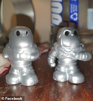 A normal silver Buzz Lightyear (right) and a 'fat' version that hasn't been molded properly (left)