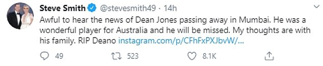 Another Australian batting legend Steve Smith also posted a tribute to Jones
