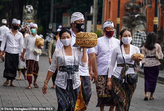 Balinese Hindu pilgrims held a prayers to celebrate Galungan holiday on September 18 amid Covid-19 coronavirus outbreak