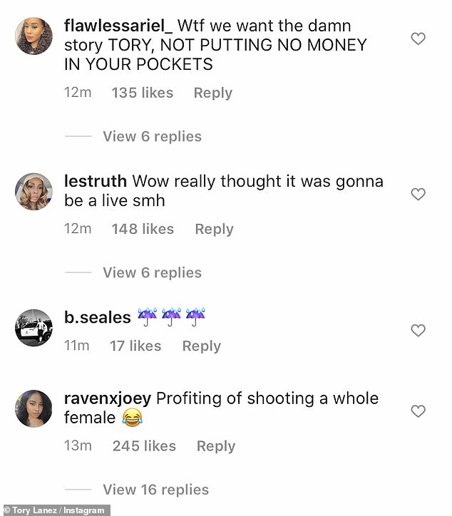 Fooled:A plethora of commenters felt as if they had been 'fooled' by the Shooters rapper and voiced their discontent in the comments