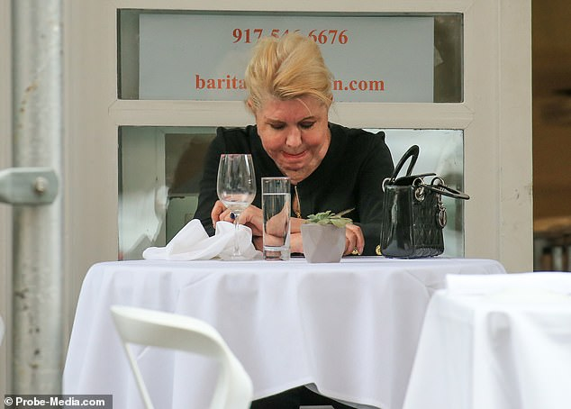 Ivana appeared to have enjoyed a glass of white wine with her meal but kept her head and eyes down for much of the experience