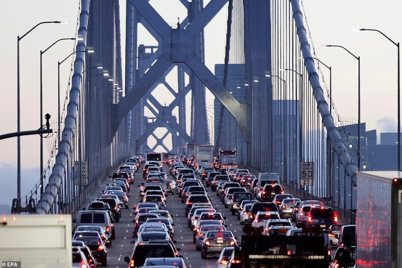 Traffic on the San Francisco-Oakland Bay Bridge slows to a crawl as protesters demanding justice for Breonna Taylor purposely decelerated on the span to create gridlock, in San Francisco, California, USA last night