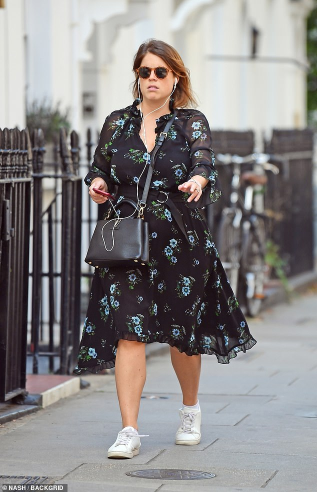 Out this month: Expectant mother Princess Eugenie was spotted strolling through London on September 18. She wore a floaty dress that skimmed her midriff and a cross-body bag