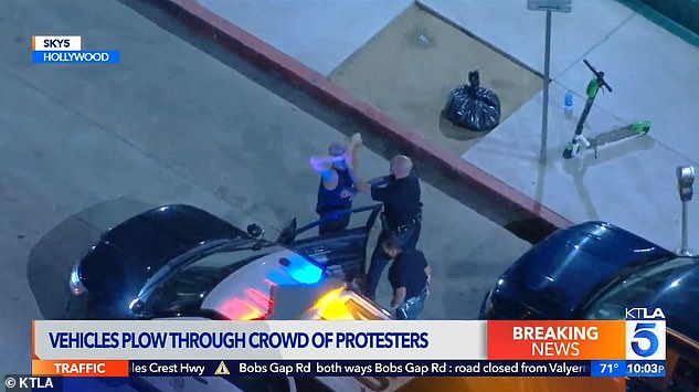 Police followed the driver and took him into custody without incident, as seen above