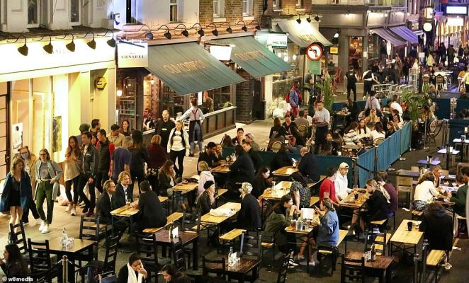 London Mayor Sadiq Khan pressed for more measures to be imposed to stop cases rising any more before Prime Minister Boris Johnson announced a nation-wide 10pm curfew on pubs and restaurants and encouraged working from home again. Pictured: Soho