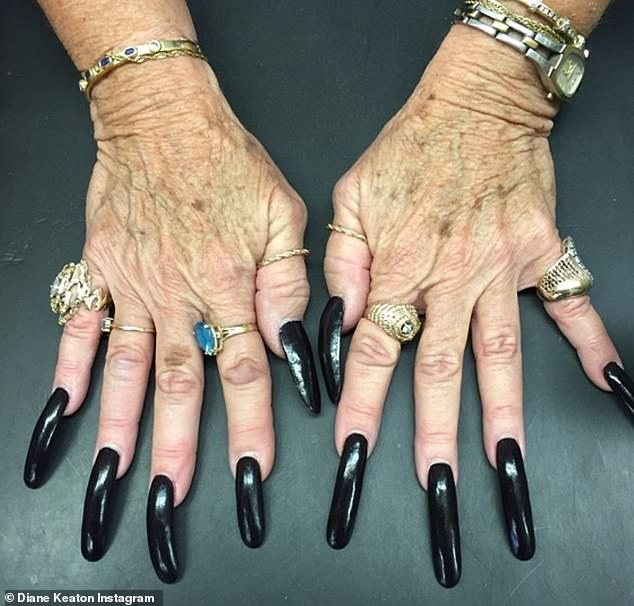 Coincidence? The reality star was stunned to see her mother's ring (far right) in a picture that was shared on Instagram by Oscar-winner Diane Keaton back in July 2019
