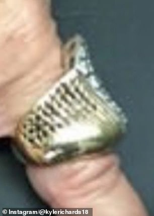 Evidence: Richards, 51, posted side-by-side comparisons of the ring she saw on an LA fortune teller's hand (pictured) and her mother's ring in her jewelry drawer before it was stolen
