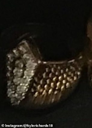 Evidence: Richards, 51, posted side-by-side comparisons of the ring she saw on an LA fortune teller's hand and her mother's ring in her jewelry drawer before it was stolen (pictured)