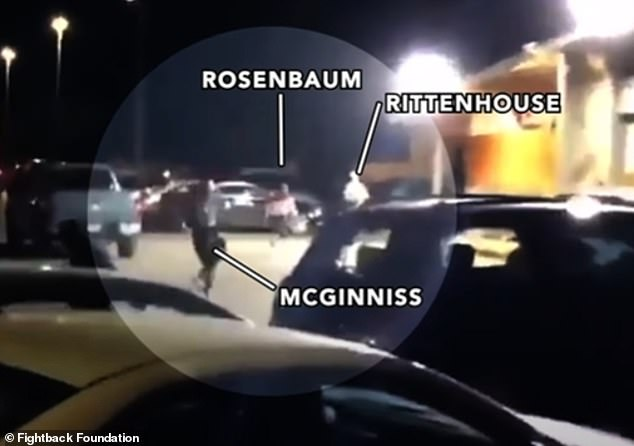 The video shows Rittenhouse running into a parking lot, followed by Rosenbaum and journalist Richard McGinniss, who was filming the chase on his cellphone