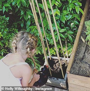 Gardening: The blonde beauty previously uploaded a photo of Belle watering some seedlings