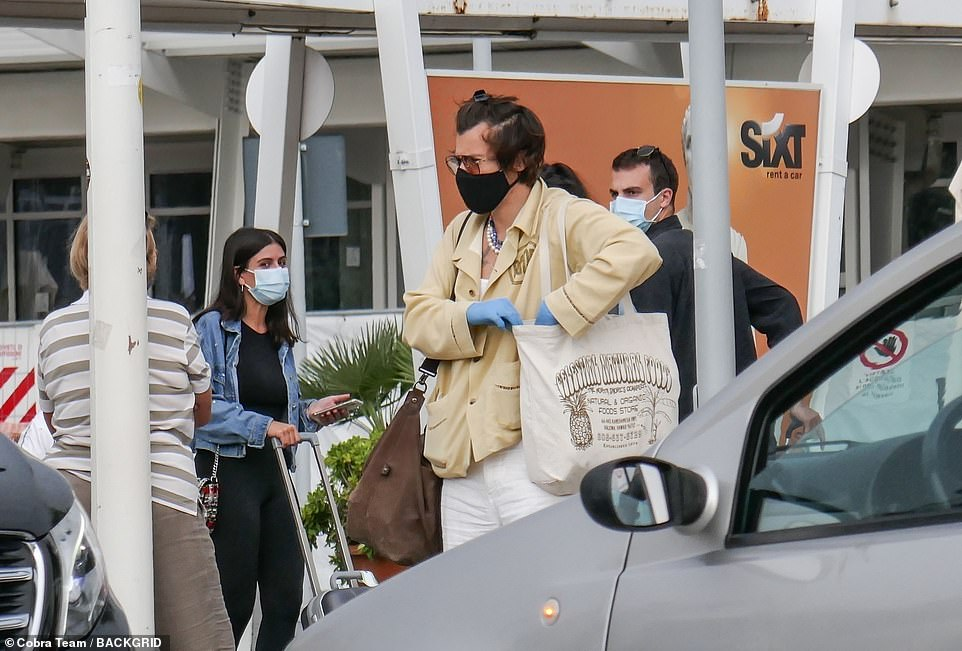 Out and about: During the day Harry was seen toting a large shopping bag as well as donning blue gloves and a mask