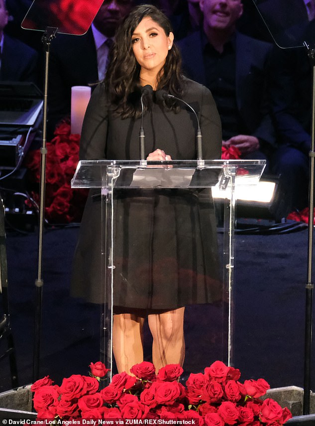 Grief: This week Vanessa, pictured at Kobe and Gianna's memorial, had to defend herself from her mother Sofia Laine's explosive Univision interview about their relationship