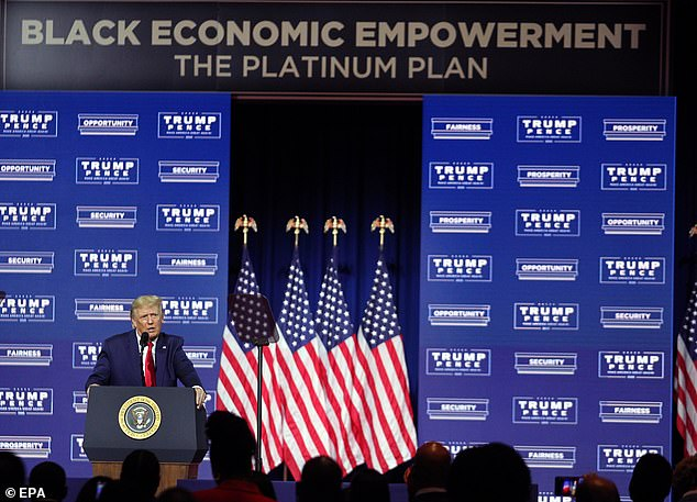 After touching down in Georgia, Trump appeared at a 'Black Economic Empowerment' event, where he insisted that as president he did 'even more than I promised' for African Americans