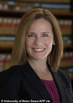Judge Amy Coney Barrett (pictured) is said to be President Trump's presumptive nominee for Supreme Court justice