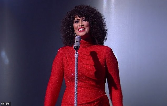Showstopping: Dressed to impress in a sparkly red dress, single mum Belinda is in it to win it as she gives it her all during the next round of semi final performances
