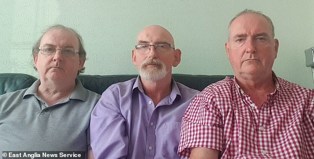 Kevin Dundon's three brothers Jimmy, Tom and Danny Dundon (pictured) have always believed he was a victim of foul play.Pictured from left to right are Danny, 60, Jimmy, 65, and Tom, 63