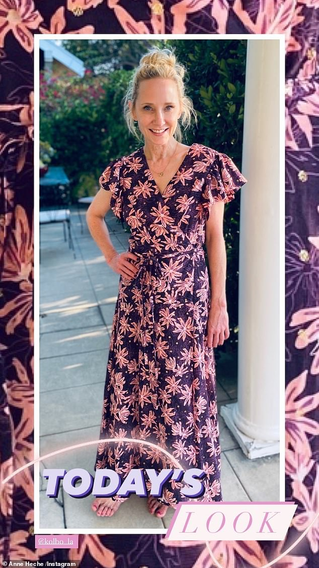 Outfit of the day: She later took to her Instagram Story to show off the pink floral Kolbo dress, as she posed on the patio of her Los Angeles home