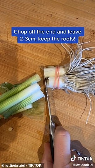 To do this, she says to chop off the ends of the vegetable and leave between two to three centimetres of stem from the roots