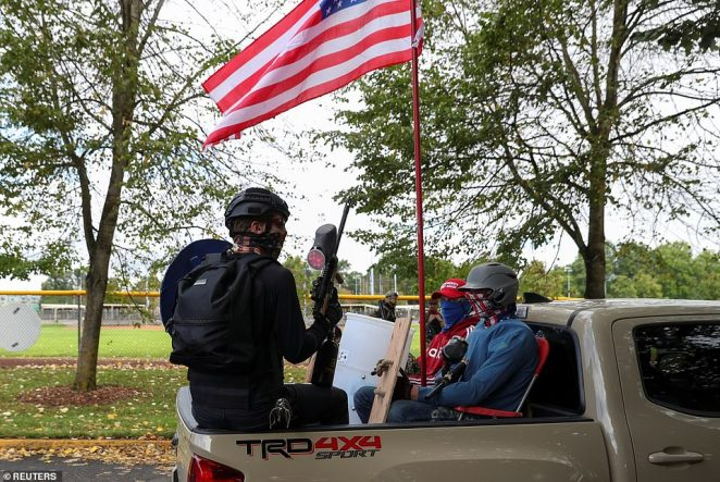 After the rally,Proud Boys were spotted loading into trucks with shields and paintball guns in a caravan headed to Vancouver