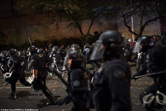 Running battles with police were a common sight in the downtown Portland area on Saturday night