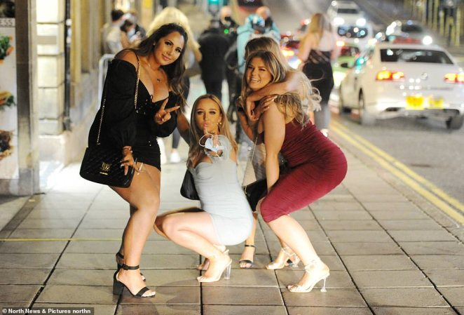 This group of women went out in Newcastle city centre as the 10pm curfew forced large amounts of revellers out onto the street at the same time