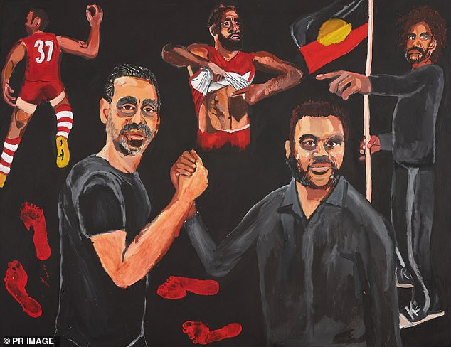 Artist Vincent Namatjira's Archibald Prize winning portrait of former AFL footballer Adam Goodes. Outspoken AFL legend Sam Newman said 'Why Oh Why' as he responded to the award in a mocking social media post