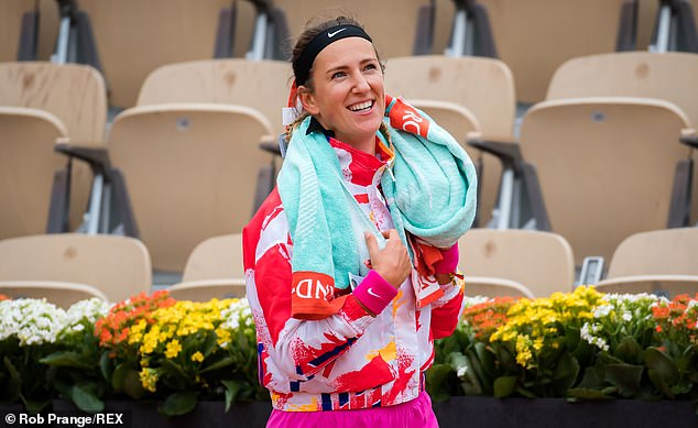 Azarenka looked in better spirits as she booked her place in the second-round with victory