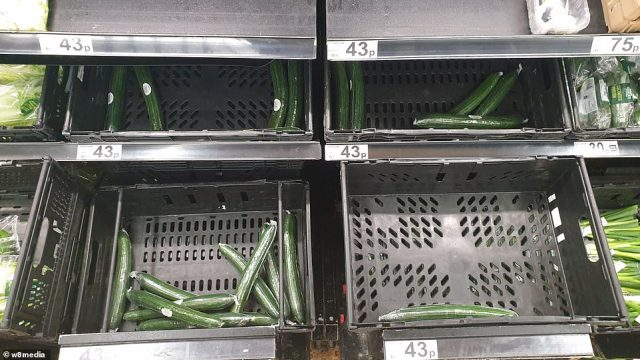 Pictures from supermarkets across the UK have already shown empty or rapidly emptying shelves, just days after the government announced tighter restrictions in a bid to stave off a second coronavirus wave. Pictured: An east London Asda