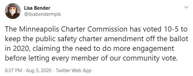 Lisa Bender admonished the Charter Commission for pausing the amendment to dismantle the police force in August, taking it off the 2020 ballot