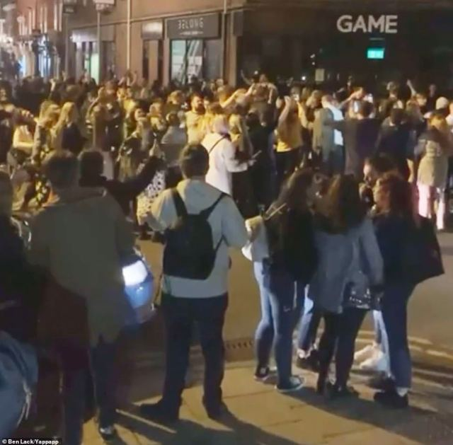 In York, huge crowds gathered on the street to keep the party going after venues serving food and drink shut at 10pm