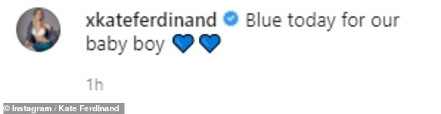 'Blue for our baby boy': Kate Ferdinand ensured she paid tribute to her unborn baby as she shared an Instagram image of herself posing in a blue dress ahead of his arrival on Sunday