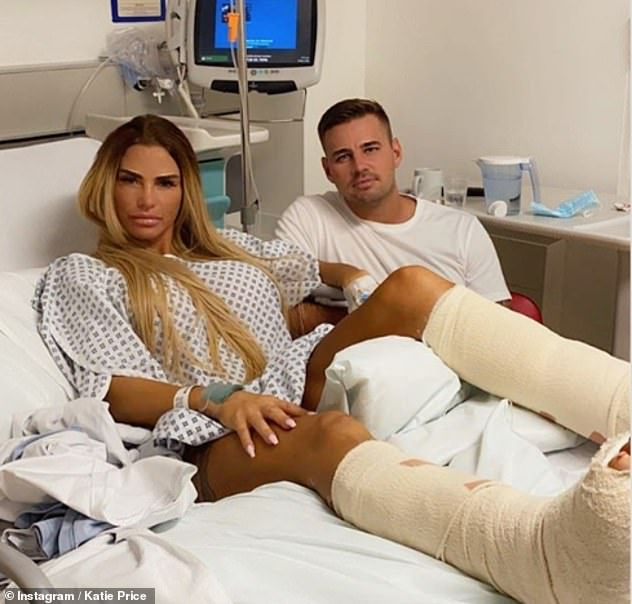Injured: The makeover no doubted lifted the influencer's spirits after being left in excruciating pain following six-hour surgery on her broken feet earlier in August (pictured with Carl Woods)
