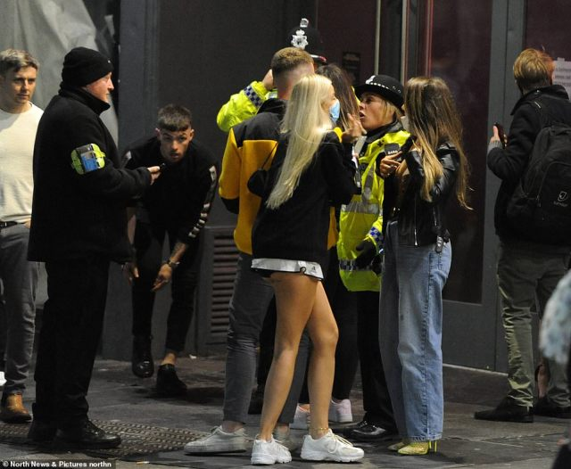Police and bouncers tried to control crowds in the busy Newcastle city centre last night amid the new Covid curfew