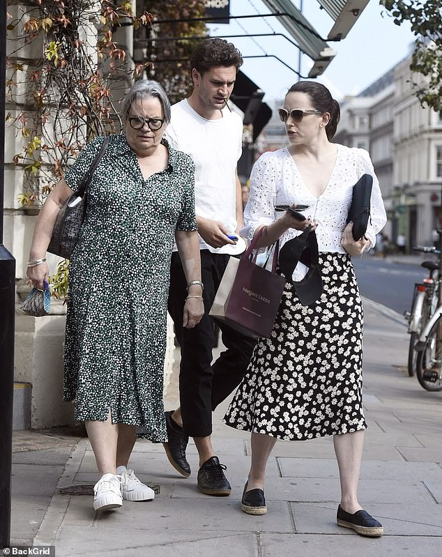 Family: Daisy's mother also opted for a floral dress for lunch