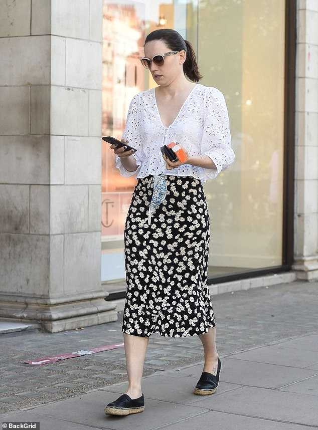 Chic: Daisy completed her ensemble with some espadrille style shoes