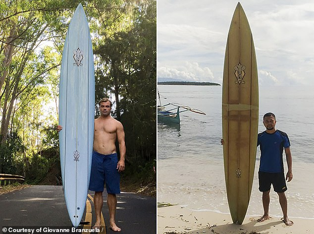 Surfer and photographer Doug Falter lost his beloved surfboard (left in October 2015) while riding the swells in Hawaii in February 2018. It resurfaced six months later in August 2018 in the Philippines where Giovanne Branzuela purchased it from a local fisherman. Branzuela pictured right at Sarangani Island in the Philippines in 2020. The board turned from a pale blue to a yellow color in the long journey across the Pacific Ocean