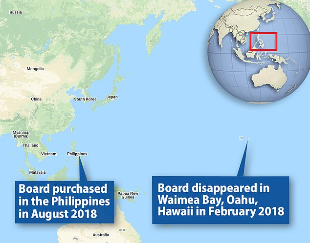 The board traveled more than 5,200 miles from Hawaii to the Philippines