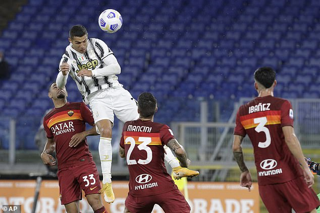 But Ronaldo climbed highest to head home his second and claim a point for Andrea Pirlo's men