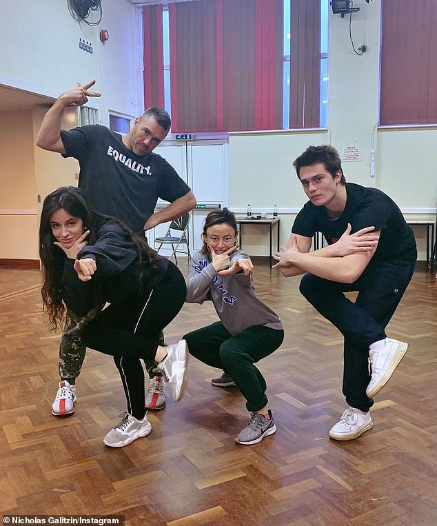 Musical: The 25-year-old Englishman took part in many dance rehearsals with Cabello under the direction of choreographer Ashley Wallen (L) and his assistant Jenny Griffin (2-R, pictured March 17)