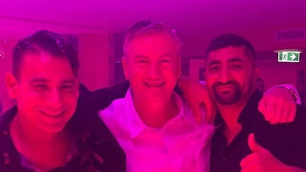 Divisive: Eddie McGuire (centre) was slammed after he was pictured partying at the Pink Flamingo this month withnightclub identity Joey Lamattina (left) and lawyerAshkan Tai (right)