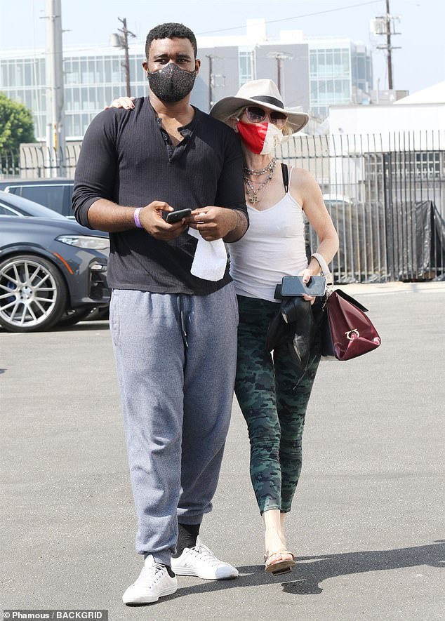 Grecian inspired: Emmy nominee Anne Heche and her dance partner Keo Motsepe arrived ready to rehearse their quickstep for Disney Night