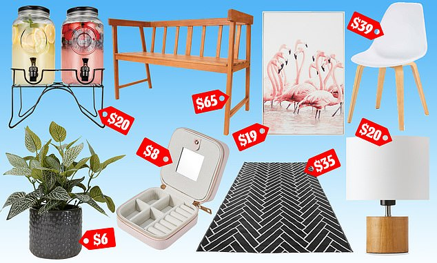 Kmart has unveiled yet another new range of living, dining, kitchen, home storage, décor and outdoor products (pictured $20 dual drink dispenser, $6 faux plant, $65 timber bench, $8 jewellery box, $19 flamingo framed canvas, $35 outdoor rug, $20 lamp and $39 dining chair