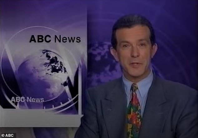 He doesn't look like this anymore! Former ABC newsreader Richard Morecroft is living his best life after quitting journalism and moving to rural NSW 15 years ago. Pictured during an ABC news bulletin in the '90s