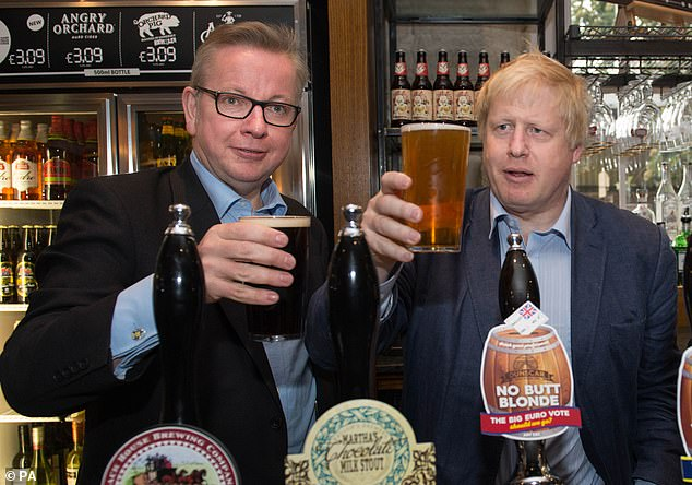 Bars inside Parliament are exempt from the Government's newly imposed 10pm curfew which came into effect this week. Pictured: Boris Johnson and Michael Gove pulling pints at the Old Chapel pub in Darwen, Lancashire