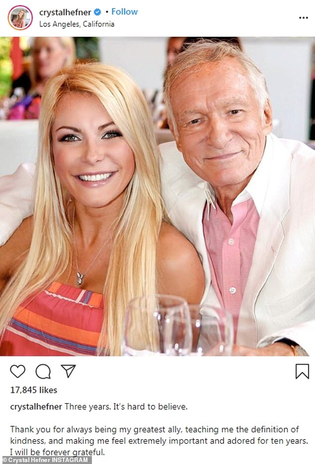 Tribute: The former Playboy Playmate thanked her late husband for their time together in her Instagram post; the model was 26 and Hefner was 86 when they wed in December 2012