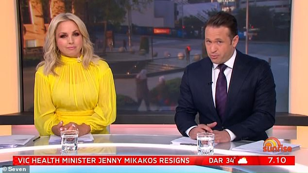 Sunny with a chance of DEATH: Weekend Sunrise landed itself in hot water with Adelaide viewers on Sunday morning after predicting temperatures of 158 degrees. Pictured: Weekend Sunrise hosts Monique Wright and Matt Doran
