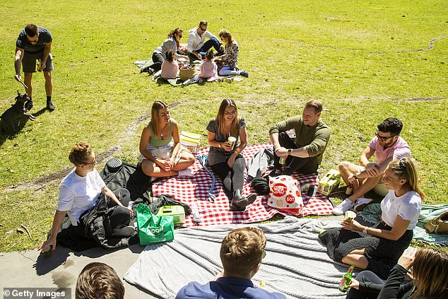 New South Wales has reported no new coronavirus cases overnight (Pictured: Sydney residents picnicking at Centennial Park)